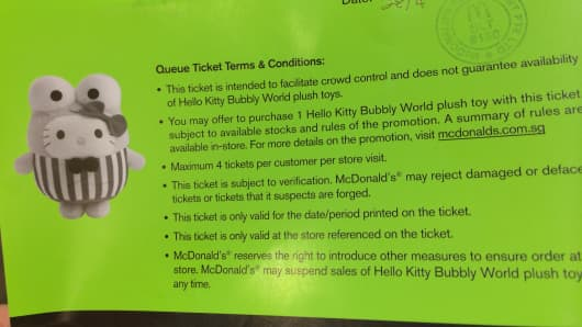 A McDonald's coupon for its Hello Kitty toys, dated April 28, 2014.